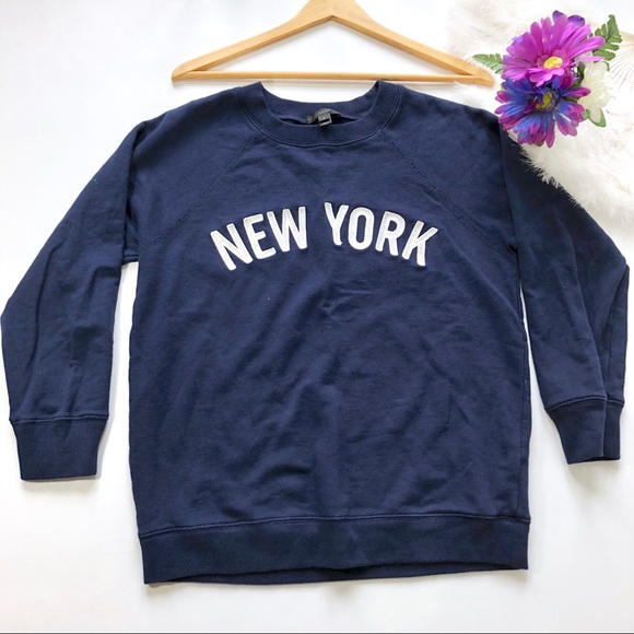 Tops New J Blue Embroidery Navy York J Sweatshirt S Crew qwCPa
